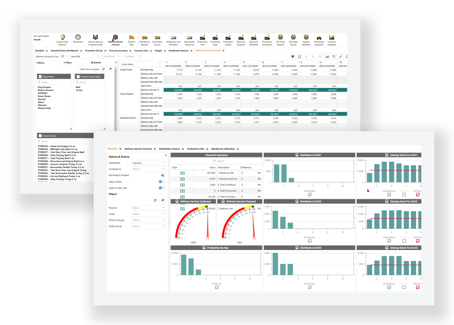 Distribution Planning Screens Optimity Software
